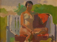 nude seated on bench by lennart anderson