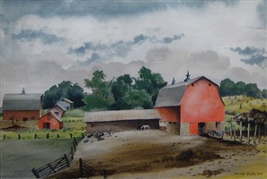 midwest farmyard with red barns by adolf arthur dehn