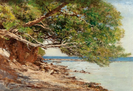 coastal scene by victor pierre huguet