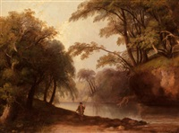 fisherman in a wooded landscape by james stark