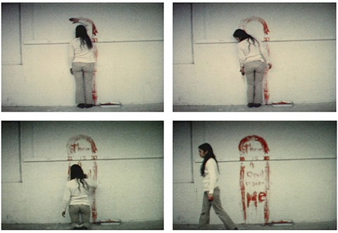 film stills from untitled (blood sign #1) by ana mendieta