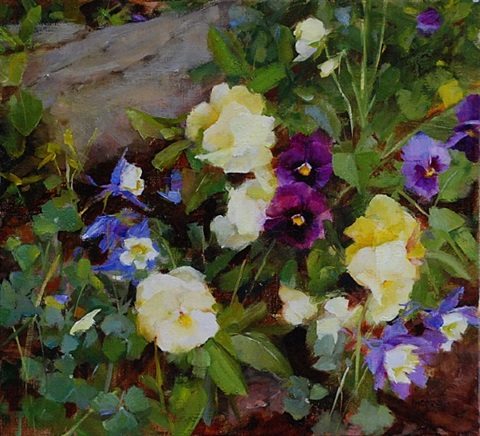 pansies and columbine by kathy anderson