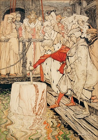 how galahad drew out the sword from the floating stone at camelot by arthur rackham