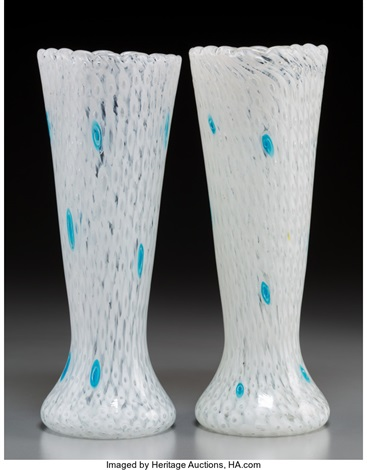 A Pair Of Fratelli Toso Glass Vases With White Caning And Turquoise