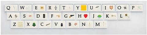 a b c art (low relief): a/ant, etc., (keyboard) by john baldessari