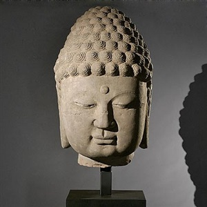 sandstone buddha head by asian artifacts