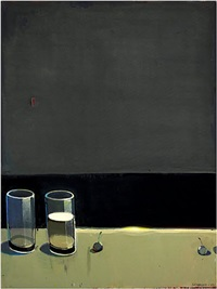 dark still life with two glasses by raimonds staprans