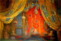 set design for scheherazade (scheherezade bedroom) by leon bakst