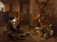 peasant couple in an interior with a kitchen still life by matheus van helmont
