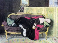 sleeping young woman by konstantin andreevich somov