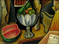 still life with watermelon and newspaper by konrad cramer