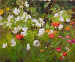 summer zinnias and cosmos by kathy anderson (sold)