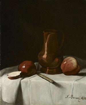 pommes et pichet sur une table by françois bonvin
