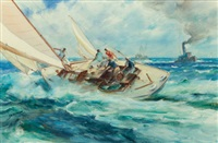 sailing on open waters (the race) by james milton sessions