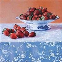 fraises sur toile ciree i by kira weber