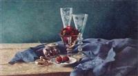 fraises et nappe bleue retroussee by kira weber