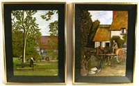 stopping for a drink (+ on a walk; 2 works) by frederick james lloyd