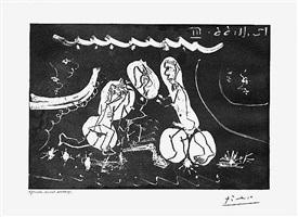 sous les feux de la rampe: femme nue entre deux hommes from the 60 series, 12 november 1966, iii, mougins by pablo picasso