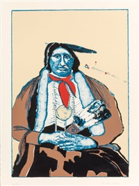 indian with feather fan (first state) by fritz scholder