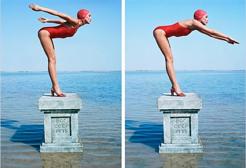 jerry hall (diptych) by norman parkinson