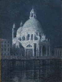 santa maria della salute by moonlight by john leslie breck