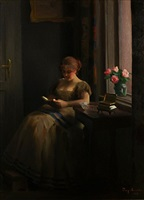 interior scene with woman reading near window by emil pap