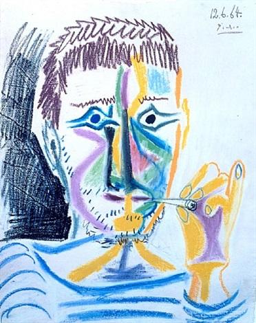 buste d'homme a la cigarette by pablo picasso