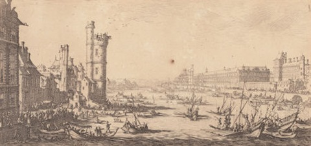 vue du louvre and vue du pont neuf from les deux grandes vues du paris pair by jacques callot