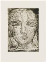 portrait de marie-thérèse de face by pablo picasso