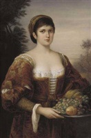 a berlin (kpm) porcelain rectangular plaque of a florentine beauty. no nn-444