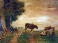 cows and calves at the edge of the field by george glenn newell