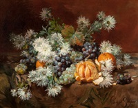 still life with fruits and flowers by louis marie de schryver