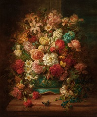 still life with flowers and butterflies by hans zatzka