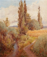 autumn landscape with creek by adolphe frédéric lejeune