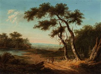 figures on a sunlit country road by patrick nasmyth