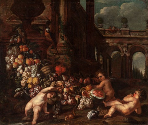 classical landscape with putti and garlands by jan pauwel gillemans the younger