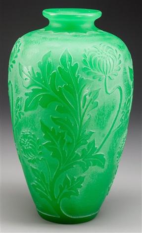 A Steuben Acid Etched Jade Green Glass Vase Corning New York