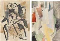 cubist - study (+ another, irgr; pair) by liubov popova