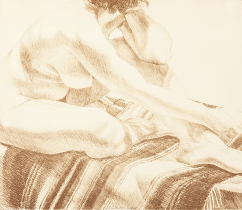 woman on blanket by philip pearlstein