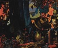 dark still life with skull by frank alford