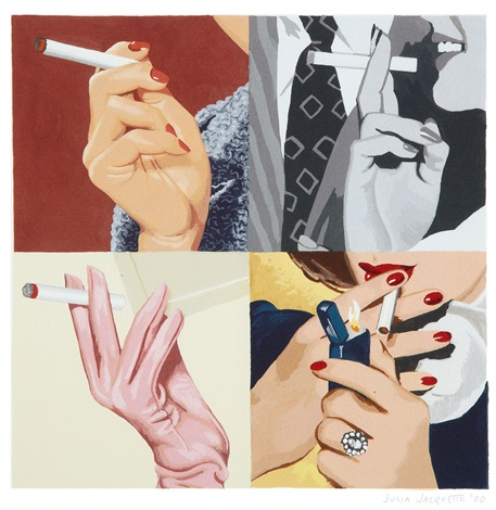 untitled womans hands smoking by julia jacquette