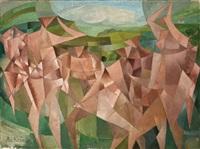 personnages cubistes (seven figures in a landscape) by paul ackermann