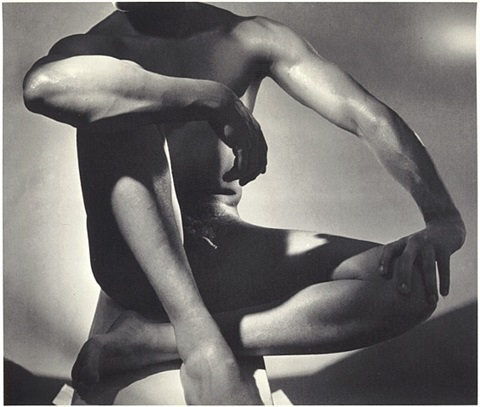 male nude (frontal, sitting) 1952 by horst p. horst