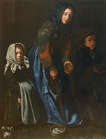 woman begging with two children by the master of the blue jeans