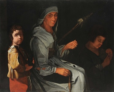 woman spinning with two children by the master of the blue jeans