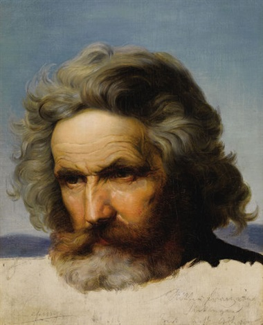 study of a bearded man by karl friedrich lessing