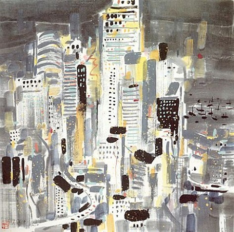 hong kong at night by wu guanzhong