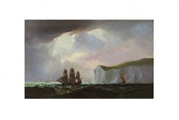 sailing ships off dover by robert charles leslie