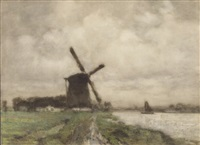 river landscape with windmill by arthur feudel