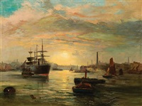 harbor sunset by robert ernest roe
